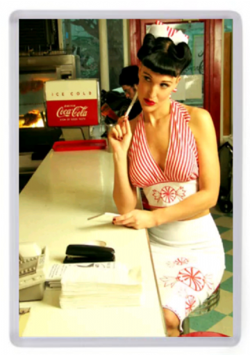 American Diner Waitress Fridge Magnet. Candystripe Uniform